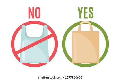 Plastic bag and eco bag in flat style isolated on white background. Pollution problem concept. Care Environment. Vector illustration.
