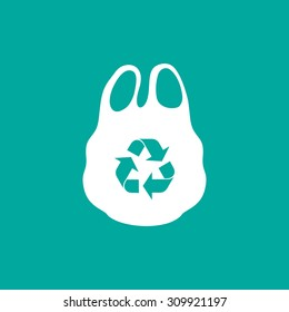 Plastic bag icon with recycle symbols on blue background.