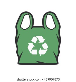 Plastic bag with recycle sign - Vector