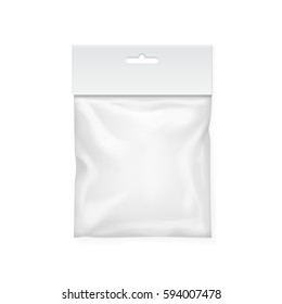 Plastic bag template. White blank packaging with hang slot. Mock up Vector illustration