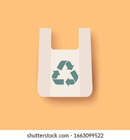 Plastic bag vector icon. Zero waste eco concept. Recycle Eco-friendly green sign. Simple shape flat design isolated on yellow background.
