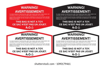 Plastic Bag Warning Sticker with Low-density polyethylene Sign LD-PE 04, Multi-language English and French. Vector EPS 10