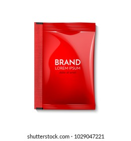 A plastic bag for your design and branding. Mockup Blank Foil Packaging Sachet for tea, fruit, sugar, coffee, condoms, medicines, as well as salt, spices, sauce, shampoo, gel.