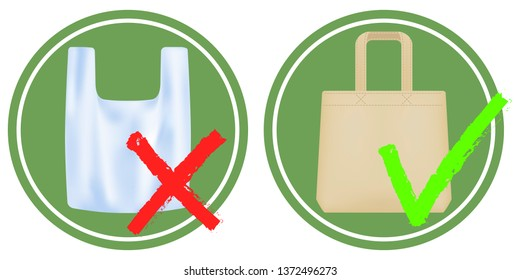 Plastic bags ban, use only textile bag. Signage calling for stop using disposable polythene package