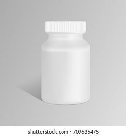 Plastic bank, bottle of tablets, vitamin, medicament. Jar of pills vector illustration mock up