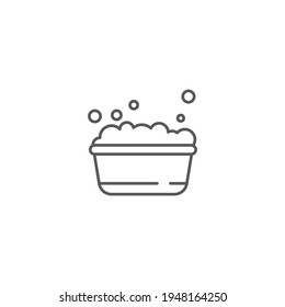 plastic basin with soap suds icon isolated background. Bowl with water. Washing clothes, cleaning equipment. Vector Illustration