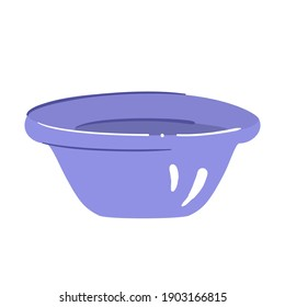 Plastic basin for water - isolated vector illustration. Lilac tub in hand drawn style, for laundry, cleaning, washing dishes or bathe - single clipart, object on white background