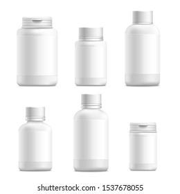 Plastic blank medical containers for pills and drugs 3d realistic set of mockup vector illustrations isolated on white background. Bottle packaging for vitamin capsules.