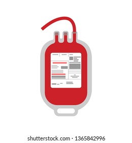 Plastic blood bag for blood transfusion in flat style isolated over white background. Vector illustration