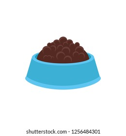 Plastic blue bowl with pet food on white background. Vector illustration.  Canned, dry food for cats or dogs.