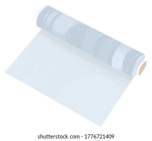 Plastic blue transparent wrap roll illustration element vector isolated on a white background