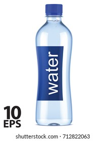 Plastic bottle of clean water. Vector 3D illustration