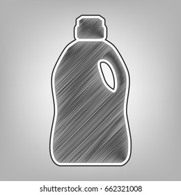 Plastic bottle for cleaning. Vector. Pencil sketch imitation. Dark gray scribble icon with dark gray outer contour at gray background.