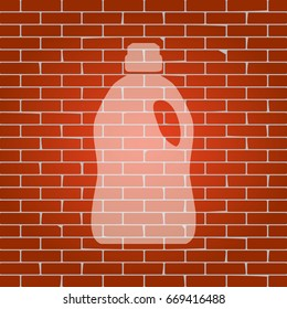 Plastic bottle for cleaning. Vector. Whitish icon on brick wall as background.
