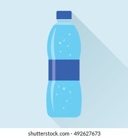 Plastic bottle of fresh sparkling water icon in flat style isolated on sky blue background. Stylized vector eps10 illustration.