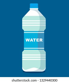 Plastic bottle of fresh water icon in flat style isolated on blue background. Vector illustration in flat style