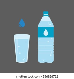 Plastic bottle and glass of water. Water drop sign. Vector illustration