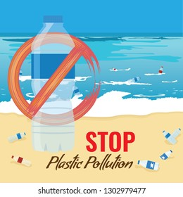 Plastic bottle mockup with no sign. Pollution of ocean, sea or beach concept. Vector Illustration.