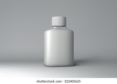 Plastic Bottle Packaging Mock-up. White Medical Container. Vector Illustration