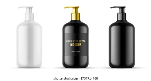 Plastic bottle set with dispenser pump  for liquid soap , gel, lotion, cream, shampoo, bath foam and other cosmetics. Blank product packaging mockup template design for ads