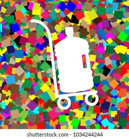 Plastic bottle silhouette with water. Big bottle of water on track. Vector. White icon on colorful background with seamless pattern from squares.