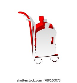 Plastic bottle silhouette with water. Big bottle of water on track. Vector. Detachable paper icon with red body stock. Isolated.