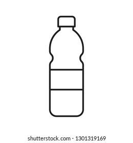 Plastic bottle vector illustration, line design icon
