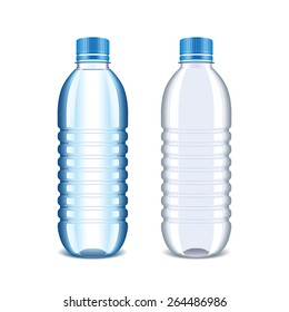 Plastic bottle for water isolated on white photo-realistic vector illustration