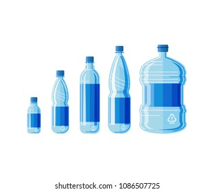 Plastic bottle water set. Blue drinking water packaged in PET Bottle. Healthy agua bottles vector illustration. Clean drink in plastic container