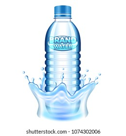 Plastic bottle in water splash 3d realistic vector