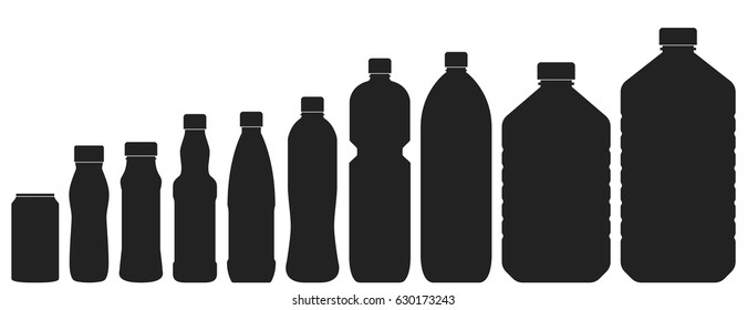 Plastic bottles of various sizes. Set of vector illustrations. Black silhouettes isolated on white. Different contours of bottles for water, lemonade, soda or beer.
