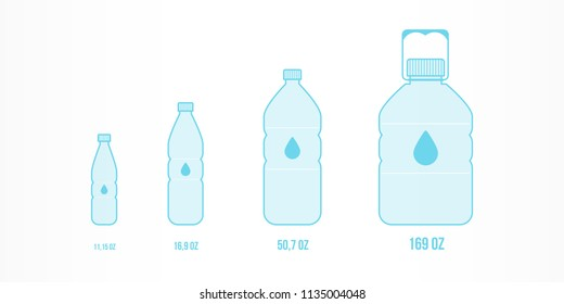 Plastic bottles with water icon set. Different sizes: 11,15oz, 16,9oz, 50,7oz, 169oz. Vector illustration, flat design