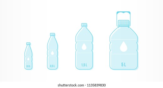 Plastic bottles with water icon set. Different sizes: 33cl, 0,5L, 1,5L, 5L. Vector illustration, flat design