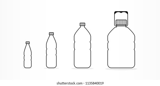Plastic bottles with water icon set. Different sizes. Black outline. Vector illustration, flat design