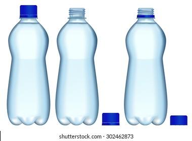Plastic Bottles of water. Vector Illustration isolated on white background.