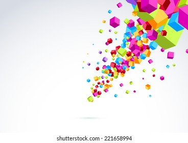 Plastic bright cubes fly out background. Vector illustration