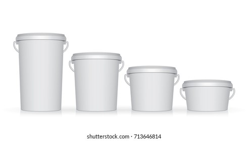 Plastic bucket. Easy to change colors. Mock Up Vector Template