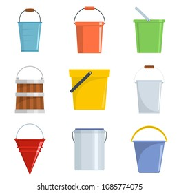 Plastic bucket types container icons set. Flat illustration of 9 plastic bucket types container vector icons isolated on white