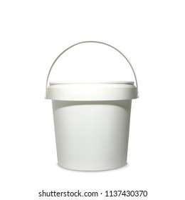 Plastic bucket vector illustration of 3d realistic white container for mockup model of brand package with lid and handles for painting, putty or primers and food design