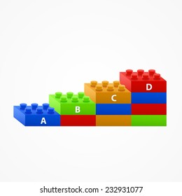 Plastic building Blocks stairs. Isolated on White Background.