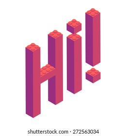 Plastic building blocks and tiles in isometric projection. Vector illustration with text HI