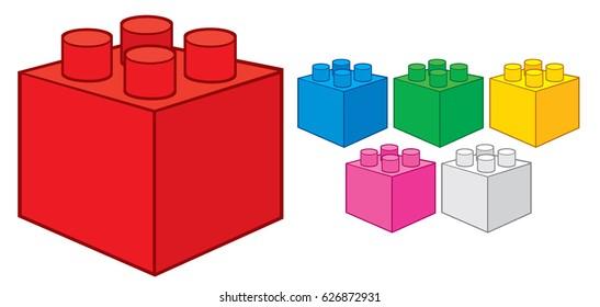 plastic building blocks (toy construction elements vector illustration)