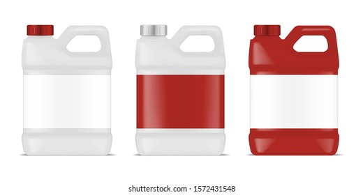 Plastic canister with blank label set. Large bottle container with handle and screw cap. Industrial packaging for chemicals, cleaners, detergents and other liquid products. Vector template.