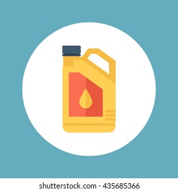 Plastic canister of motor, engine oil. Vector illustration, flat style.
