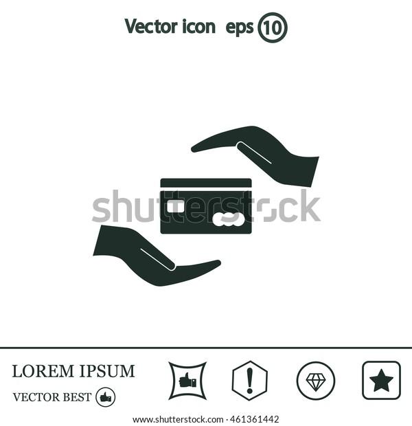 plastic card in hand, web icon. vector design