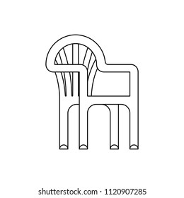 Plastic chair isolated. Summer furniture Vector illustration.