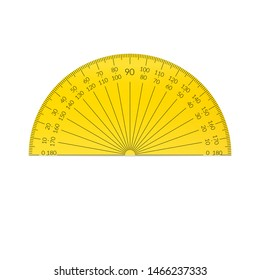 Plastic circular protractor with a 180 degree scale
