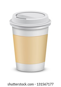 Plastic coffee cup with lid. Vector illustration