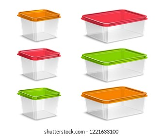 Plastic colored food containers set realistic isolated vector illustration