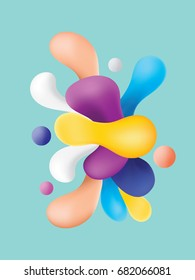 Plastic Colorful Shapes. Abstract Background Vector